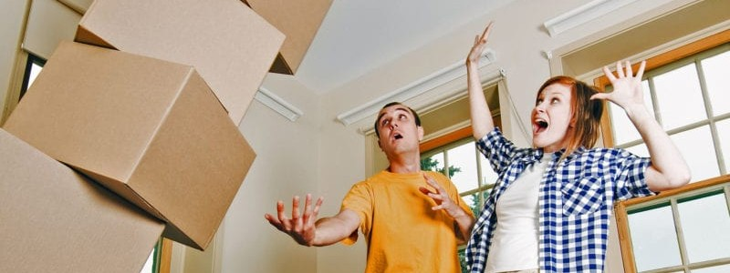 young couple facing challenges while preparing for a relocation