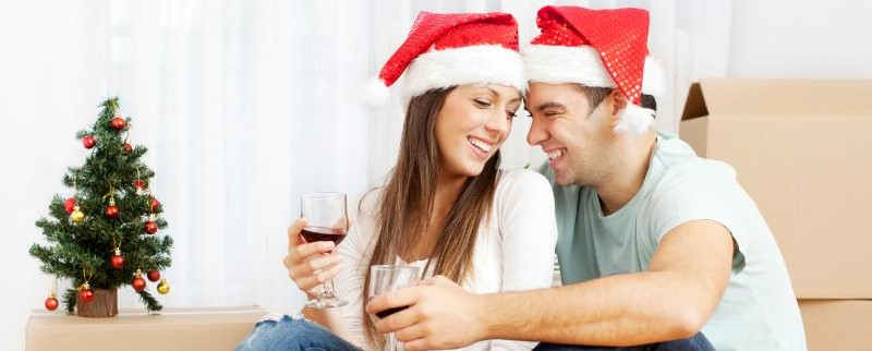 couple celebrating their house relocation