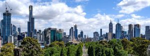 beautiful cloudy view of Melbourne city