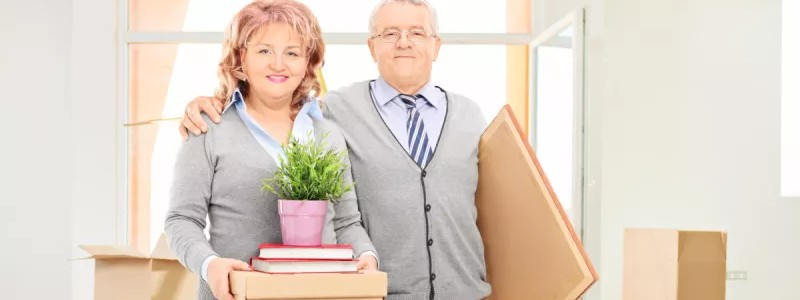 old couple preparing for their household relocation